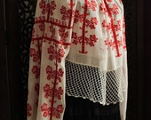antique romanian red cross stitch embroidered blouse on neutral white fabric  / unique handmade - art to wear - silkroaddream