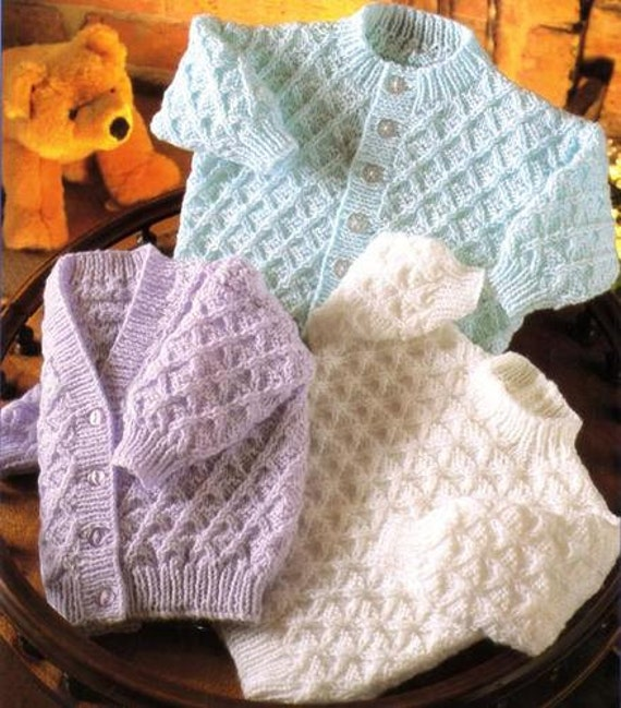 Vintage Knitting Baby Patterns : Vintage Knitting Pattern for Baby v neck & round by NewBabySoon