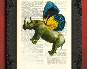 Rhino art print, whimsical butterfly rhinoceros decor dictionary page, fantasy art, rhino elf with butterfly wings