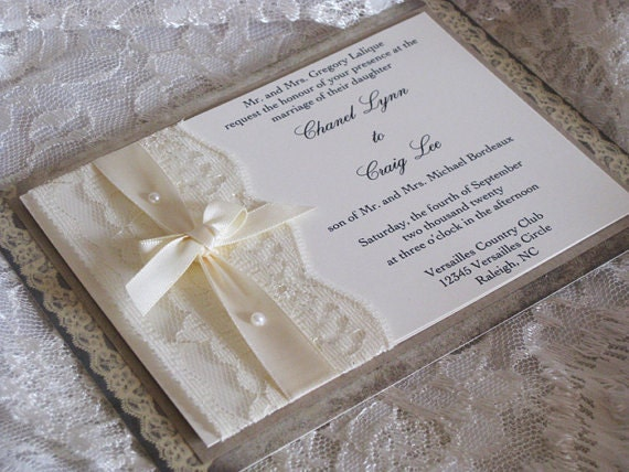 Wedding Invitation Lace: Items Similar To Lace Wedding Invitations, French Market