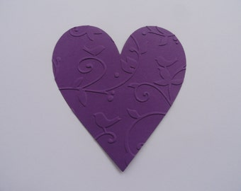 Purple Valentine Heart Die cuts Set of 10