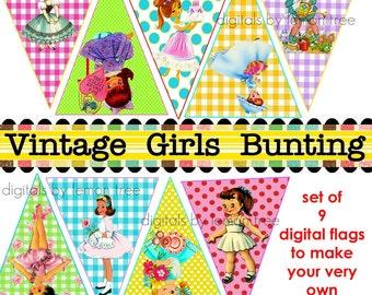 Printable Bunting/Garland  -- Vintage Girls  (Instant Download)
