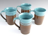 Large Pottery Mug Turquoise Blue Iridescent Dark Chocolate - Ready to Ship