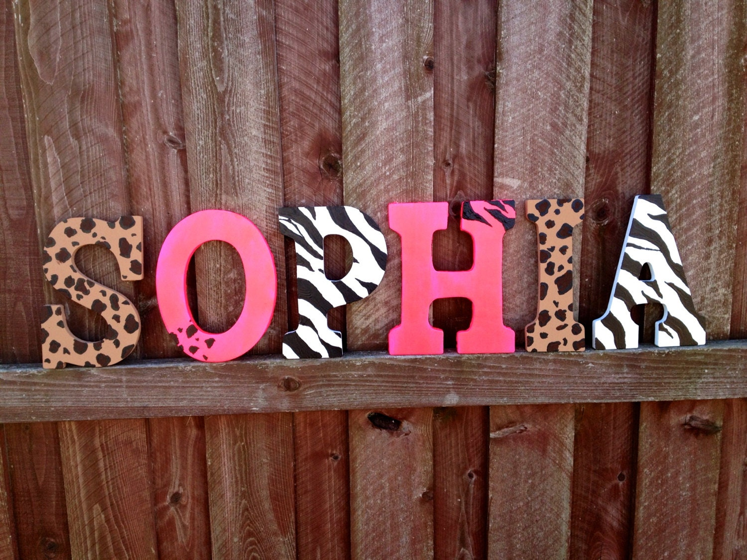 9 cheetah hot pink zebra wall hanging letters by for Shoulder decoration 9 letters
