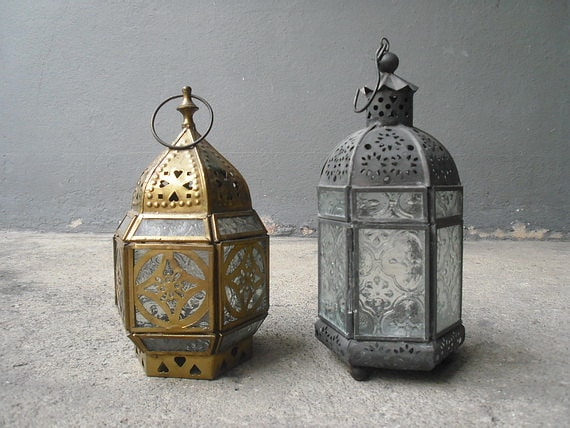 Moroccan Perforated Candle Lanterns Vintage Glass Table
