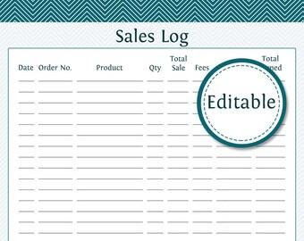 Sales Log - Fillable - Business Planner - Printable Organizational PDF - Instant Download