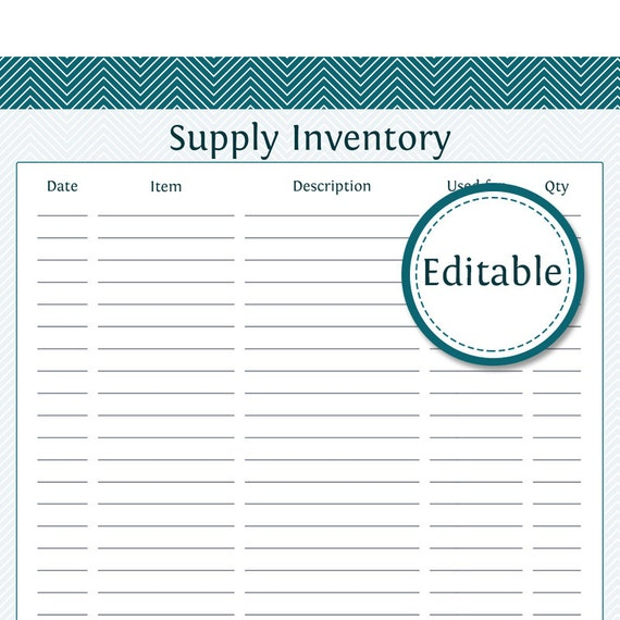 Charming Supply Inventory   Fillable   Business Planner   Printable Organizational  PDF   Instant Download