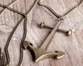 Antique Brass Anchor Pendant Long Necklace Minimalist Grunge Jewellery