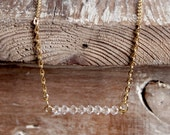 Delicate Gold Long Chain Necklace with Clear Swarovski Beading Pendant