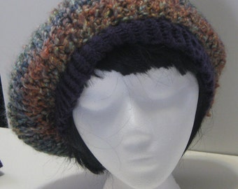 Scallop-edged Knit Tam  With Pom-Pom in Desert Shades