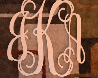 14 inch Vine connected monogram letter, Wooden wall letter, wedding, unfinished, gift