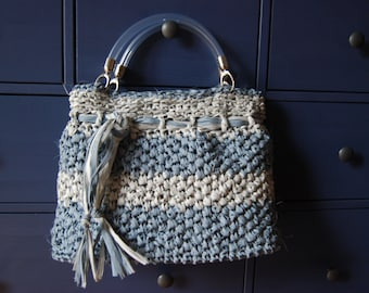 Summer rafia bag - handmade with crochet