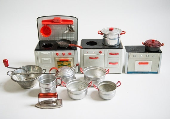vintage metal miniature kitchen set with accessories