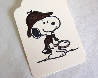 Sherlock Holmes Snoopy Gift Tags -Set of 6 (w/ Deerstalker Hat, and Magnifying Glass)