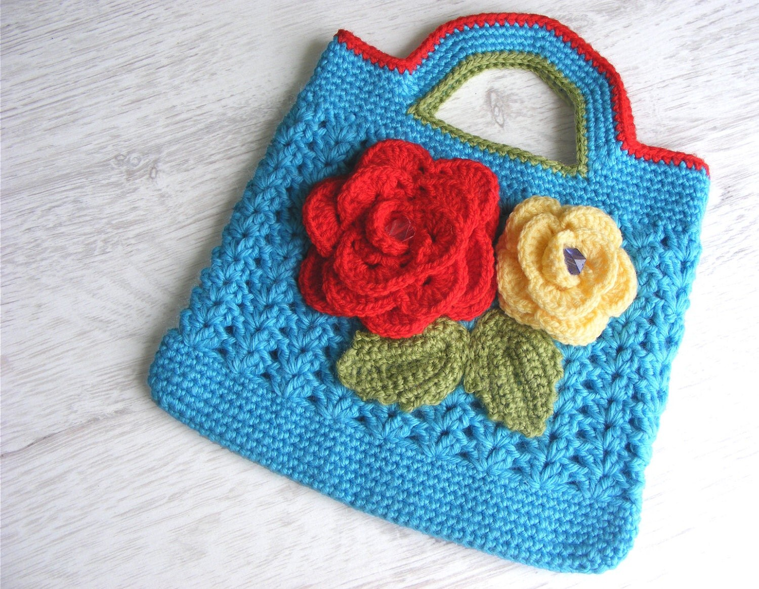 Crochet Bag For Girl : Girls crochet bag hand bag purse clutch with flowers by NatkaLV