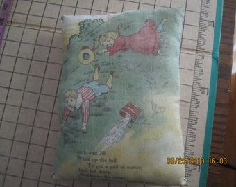 Pillow Made From Childs Fabric Book - Jack and Jill