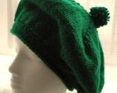 Knit BERET PATTERN with Pom Pom- St Patrick's Day