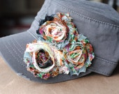 womens cadet hats, womens gifts, womens trucker hats Gray Distressed Military Cadet flower hat. Shabby Chic Flower Hats Bling Cadet Hats