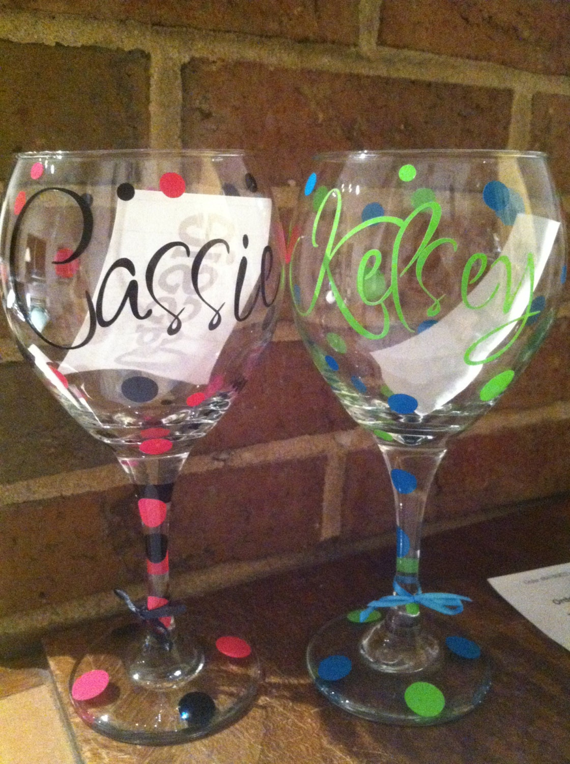 Set Of 2 Personalized Wine Glasses By Achicandsassyboutiqu
