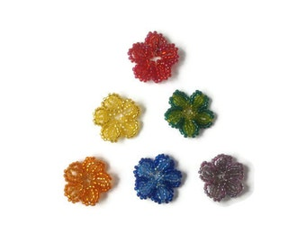 seed bead flower ornament, seed bead flowers, decorative ornament for easterbush, easter decoration, set of 6 multicolor flowers