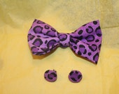 Purple Leopard print Bow and Earring set