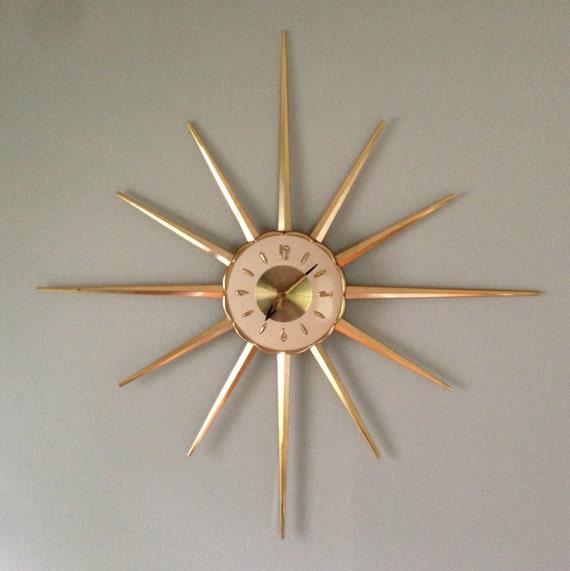 large mid century modern starburst wall clock