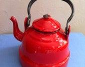 Vintage Tea Kettle Red  Enamel European