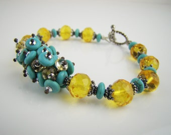 Turquoise and citrine bracelet, yellow and blue, 925 sterling silver, cluster bracelet, handcrafted jewelry, 7PM boutique