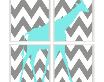 Giraffe Nursery Art Chevron - Gray Aqua Decor   - Baby Boy Children Safari Zoo - Wall Art Home Decor
