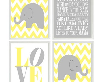 Elephant Nursery Art, Chevron Wall Art, Gray Yellow Nursery, Baby Girl Wall Art, Love Art, Baby Girl Nursery Decor, Girl Rules Art -