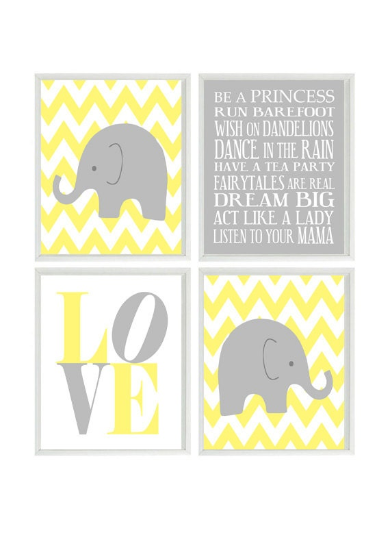 Elephant Nursery Wall Decor elephant nursery art chevron wall art gray yellow nursery