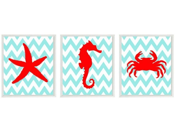 Red Starfish Wall Decor : Sea creature art starfish seahorse crab chevron