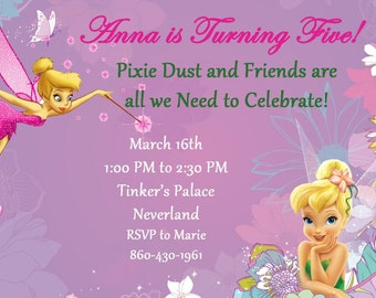 Tinkerbell Invitation--Disney--Birthday Party--Customize