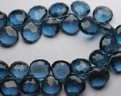 2x8 Inches Strand,Super Finest,London Blue Topaz Quartz Faceted Briolette Heart 11mm