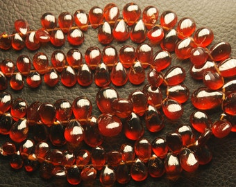 1/2 Strand,25 Beads,Superb-Finest Quality AAA Quality HESSONITE GARNET Smooth Pear Shape Briolettes,15-7mm size