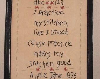 Primitive Stitchery,Annie Jane Sampler, Handstitched, Framed, Rustic, Farmhouse Decor, Prim Decor, Primitive Gift, Country Home Decor,
