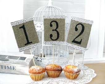 Wedding Table Numbers, Burlap Lace Elegant Rustic Chic,Burlap Wedding or Event Table Numbers,Set of 10