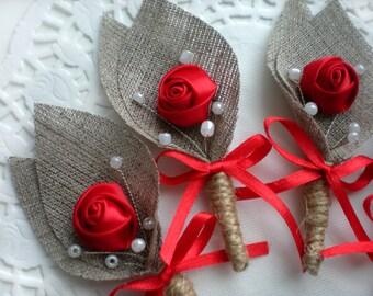 Set of 12- RED Flower burlap Boutonniere (buttonhole)