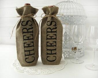 Set of 4-CHEERS Burlap wine bottle bag-CHEERSBurlap Wine Bag-Wine  Gift Wrap Fabric Bag