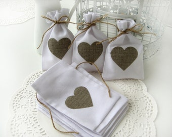 Set of 150-Wedding favor bags - White Rustic Linen Wedding Favor Bag with natural linen hearts or Candy Buffet Bag or Gift Bag 4 x 6