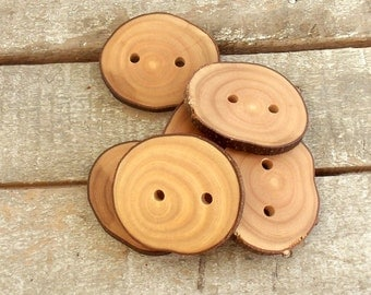 Wood Buttons - Branch Buttons - Handmade Wood Buttons - 6 Large Handmade Olive Tree branch buttons with the bark - 2  inches in diameter