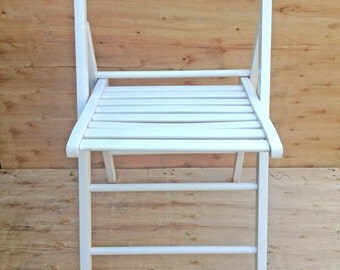 Upcycled folding deck chair, white, outdoor or indoor use