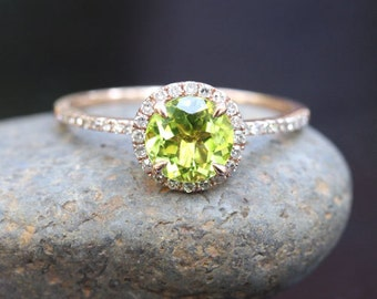 Round Peridot Engagement Ring in 14k Rose Gold with Peridot Round 7mm and Diamonds (Also Available in White Gold)
