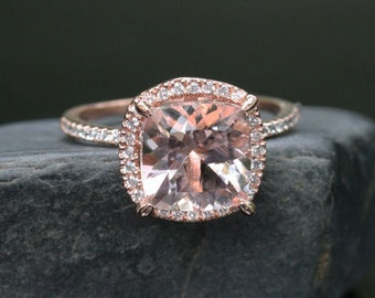 Popular Morganite Ring Engagement Ring in 14k Rose Gold with Diamonds and Morganite Cushion 9mm