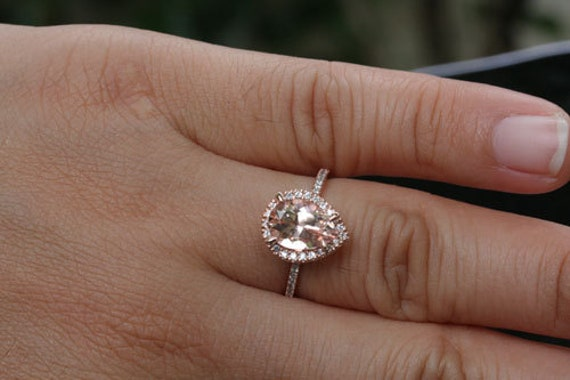 Under Dollar 400 SALE Rose Gold Morganite Engagement Ring