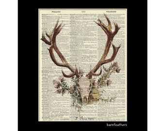 Deer Head Antlers - Dictionary Art Print - Vintage Dictionary Page Book Art Print No. P43
