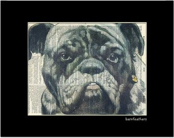 Bulldog Dictionary Art - Vintage Dictionary Art Print - Book Page Art Print - Bulldog Home Decor No. P141