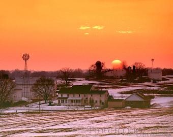 Lancaster County Pennsylvania Amish Farm Sunset, Rural Sunset, Winter Fine Art Photograph, Winter Sunset 8x10 Print