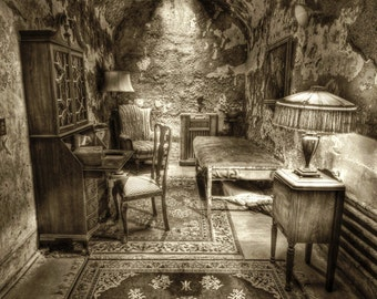 Eastern State Penitentiary, Al Capone's Prison Cell, Philadelphia, Eerie Haunted Black and White Fine Art Photograph 8x12 Print, HDR