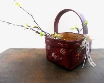 Vintage Swedish basket small Square basket Handmade Scandinavian design wicker Rustic kitchen home decor Easter basket